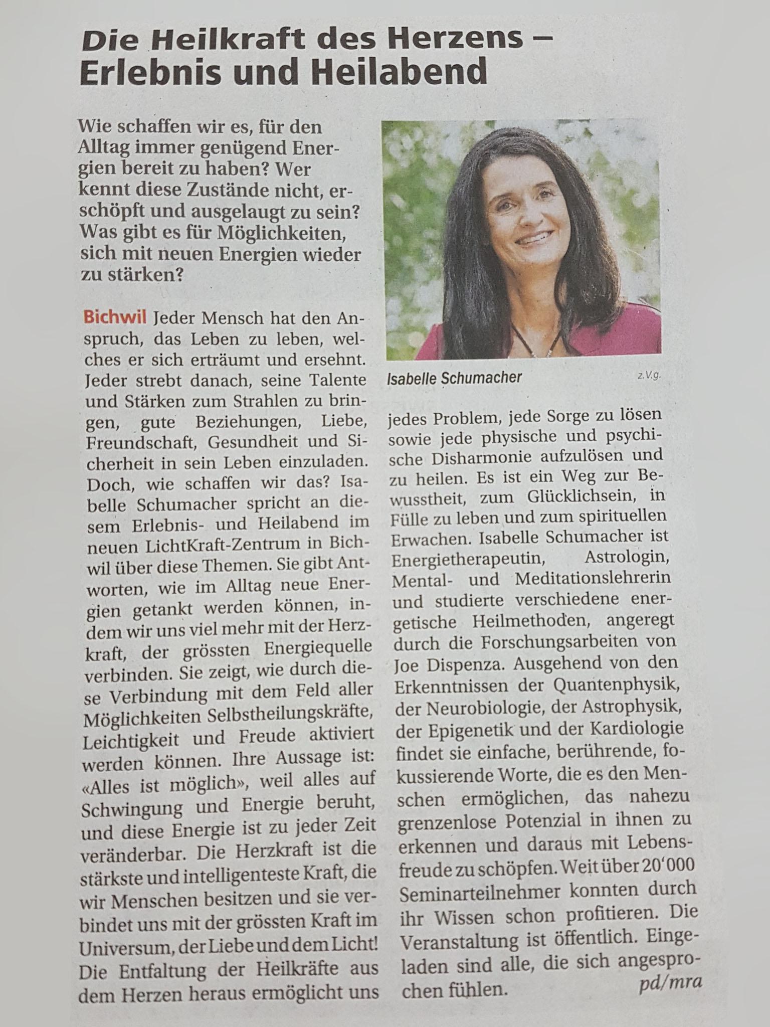 Artikel in den Wiler Nachrichten